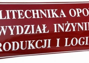 tablica emaliowana politechnika opolska wydział inżynierii produkcji i logistyki